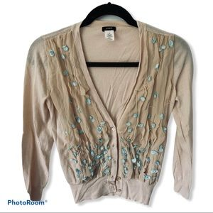 J CREW Beige Cardigan Sweater XS  Floral Beaded